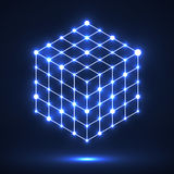 Kubus van lijnen en punten, moleculair rooster, geometrische vorm, netwerkverbinding Stock Afbeelding
