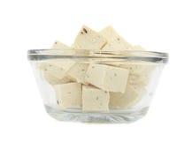 Kubus van verse tofu Stock Fotografie