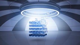 Kubus in virtuele ruimte royalty-vrije stock afbeeldingen