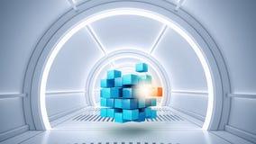 Kubus in virtuele ruimte stock afbeelding