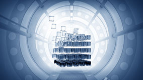 Kubus in virtuele ruimte stock illustratie