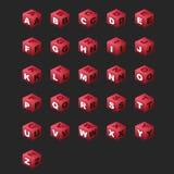 Kubussen ABC (magenta kleur). Stock Afbeeldingen