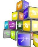 Kubussen met de pictogrammen van de kleurentoepassing Stock Fotografie