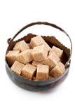 Kubussen van bruine suiker Stock Foto