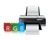 Kubussen van de printer rgb kleur Stock Fotografie