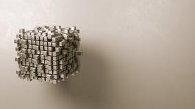Kubussensamenvoeging op Grey Background Stock Afbeeldingen