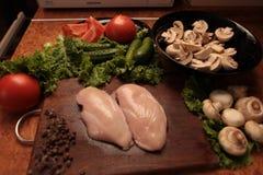 Kucbarski kurczak i warzywa zdjęcie stock