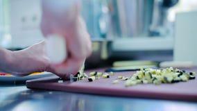 Kucbarski rozcięcie zucchini na desce zbiory wideo
