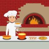 Kucbarski szef kuchni - Szczęśliwy szefa kuchni mienia półmisek ilustracji