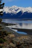 Kucbarski wpust, przyglądający południe od zakotwienie Alaska na Kenai półwysepie Zdjęcie Stock