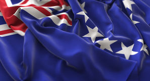 Kucbarskich wysp flaga zakończenia Napuszony Pięknie Macha Makro- strzał Zdjęcie Royalty Free