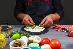 Kucbarskiego narządzania tacos meksykańskiego mieszkania nieatutowy skład, rabatowy Meksykański kulinarny przepis obraz royalty free