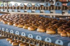 Kuchen auf automatisiert ringsum Förderermaschine in der Bäckereilebensmittelfabrik, Fertigungsstraße stockbilder