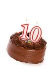 Kuchen: Backen Sie zusammen, um 10. Geburtstag zu feiern Stockfotografie