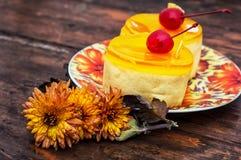 Kuchen bedeckt mit Quittenmarmelade Lizenzfreies Stockfoto