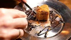 Kuchen, der mit Gabel und Messer geschnitten wird Schließen Sie herauf Schuss stock video