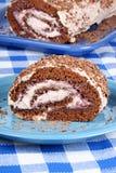 Kuchen der Schokolade Schweizer Rollen Lizenzfreie Stockfotos