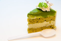 Kuchen des grünen Tees Stockfotos