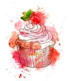 Kuchen des kleinen Kuchens mit Sahne und Erdbeerbeere watercolor Lizenzfreie Abbildung
