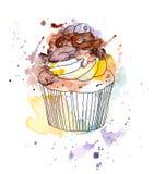 Kuchen des kleinen Kuchens mit Schokoladen- und Blaubeerbeere watercolor Stock Abbildung