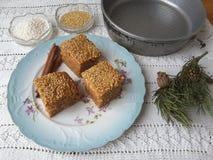 Kuchen des Sagozimt-indischen Sesams, vegetarisches Lebensmittel mit Sago und Zimt kochend Lizenzfreies Stockfoto