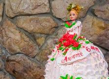 Kuchen in Form einer Prinzessin im Kleid Lizenzfreies Stockbild
