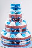 Kuchen gemacht von den Windeln Stockfotografie