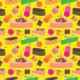 Kuchen-glückliches nahtloses Muster Lizenzfreie Stockfotos