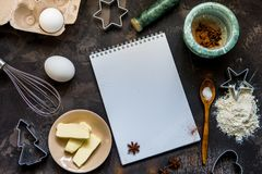 Kuchen-Herstellung Plätzchenbestandteile bemehlen, ärgern, bestreichen mit Butter und backen powd Lizenzfreie Stockfotografie