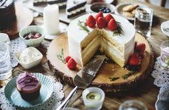 Kuchen-köstliche Nachtisch-Bäckerei-Ereignis-Partei-Aufnahme Stockfotos