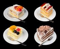 Kuchen lokalisiert auf Schwarzem Lizenzfreie Stockfotografie