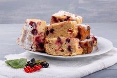Kuchen mit Beeren der roten und Schwarzen Johannisbeere stockbild