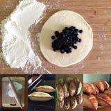 Kuchen mit Blaubeeren Stockfoto