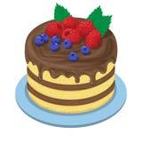 Kuchen mit choÑ  olate Creme und Frucht lizenzfreie abbildung