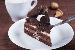 Kuchen mit Gabel Lizenzfreies Stockfoto