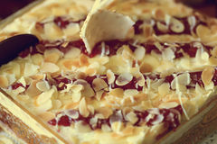 Kuchen mit Himbeermarmelade Lizenzfreie Stockfotos