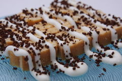 Kuchen mit Kaffee Stockbild