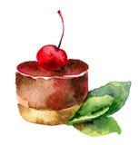 Kuchen mit Kirsche lizenzfreie abbildung