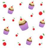 Kuchen mit Kirschnahtlosem Muster Kuchensüßspeise für Feiertag Auch im corel abgehobenen Betrag lizenzfreie abbildung