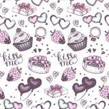 Kuchen mit nahtlosem Vektormuster der rosa Geschenke Lizenzfreies Stockfoto
