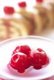 Kuchen mit Sahne und Kirschen Lizenzfreies Stockbild