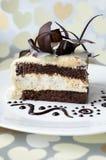Kuchen mit Schokolade stieg lizenzfreie stockfotos