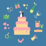 Kuchen mit Statuette des Bräutigams und der Braut Mittwoch-Ikonen lizenzfreie abbildung
