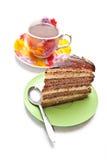 Kuchen mit Tee oder Kaffee lizenzfreie stockfotografie