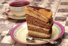 Kuchen mit Tee oder Kaffee Lizenzfreies Stockbild