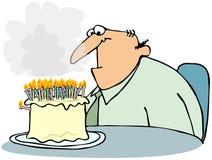 Kuchen mit zu vielen Kerzen vektor abbildung