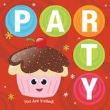 Kuchen-Party-Einladung Lizenzfreies Stockbild