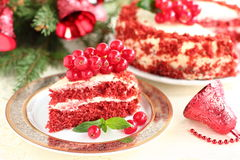 Kuchen-Rot-Samt. Stockfoto