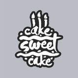 Kuchen-süßer Kuchen-weiße Kalligraphie-Beschriftung Stockbild