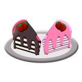 Kuchen-Schokolade und Erdbeere Stockfoto